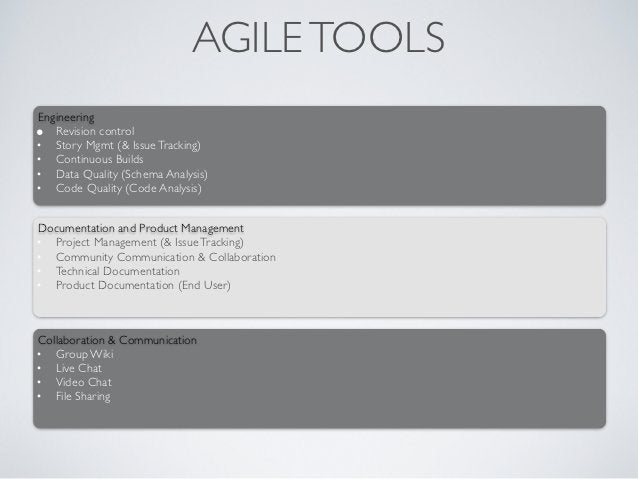 AGILE TOOLSEngineering• Revision control• Story Mgmt (& Issue Tracking)• Continuous Builds• Data Quality (Schema Analysis)...