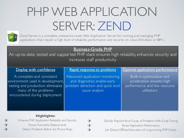 PHP WEB APPLICATION                SERVER: ZEND       Zend Server is a complete, enterprise-ready Web Application Server f...