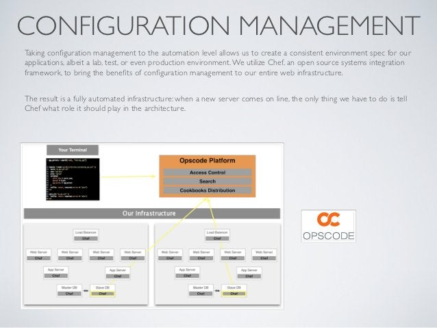 CONFIGURATION MANAGEMENTTaking configuration management to the automation level allows us to create a consistent environmen...