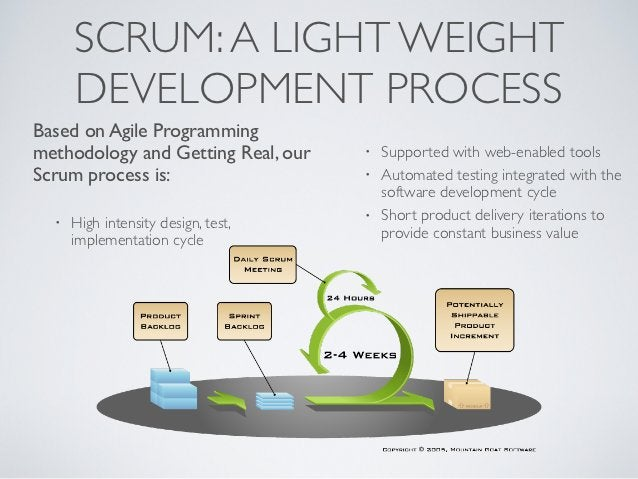 SCRUM: A LIGHT WEIGHT      DEVELOPMENT PROCESSBased on Agile Programmingmethodology and Getting Real, our    •   Supported...