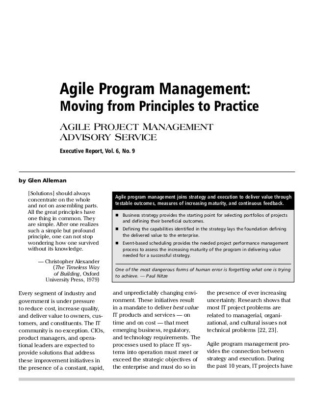 Agile Program Management: Moving from Principles to Practice