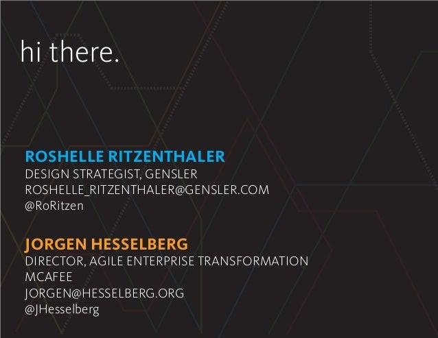hi there. ROSHELLE RITZENTHALER DESIGN STRATEGIST, GENSLER ROSHELLE_RITZENTHALER@GENSLER.COM @RoRitzen JORGEN HESSELBERG D...