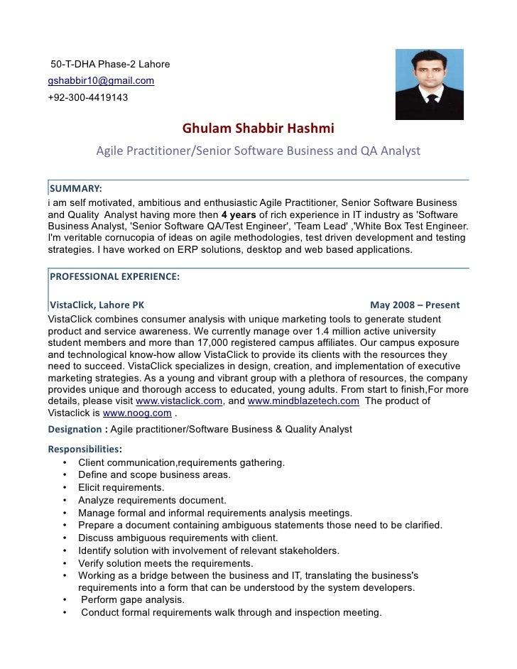 senior qa analyst resume