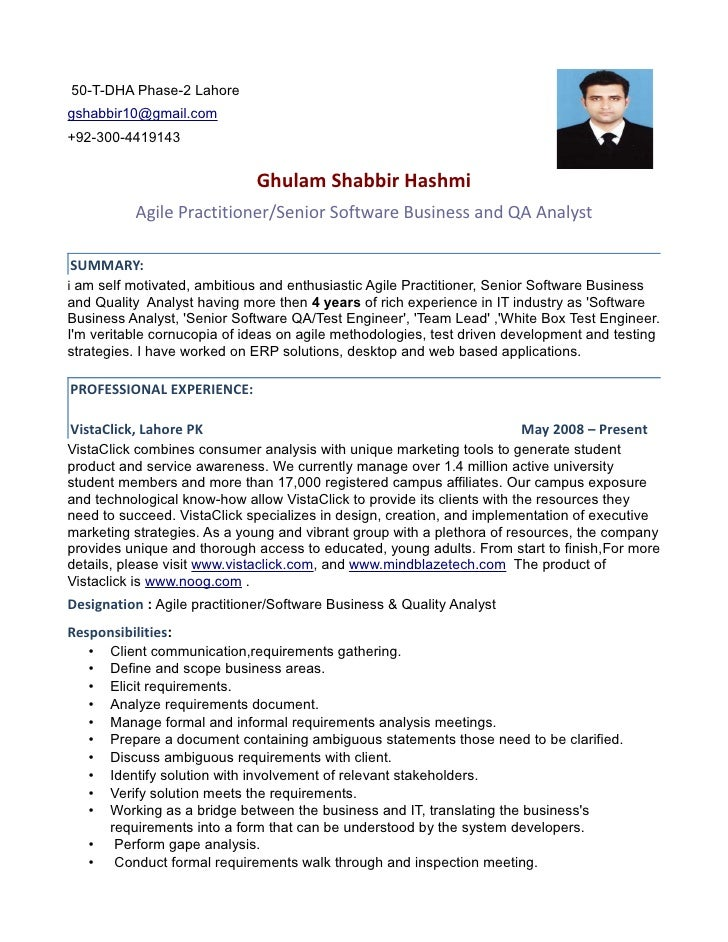 ... Template Software Experience Resume Example Experience Resume . Agile  Practitioner Senior Software Ba And Qa Analyst. 50 T DHA Phase 2 Lahore  Gshabbir10