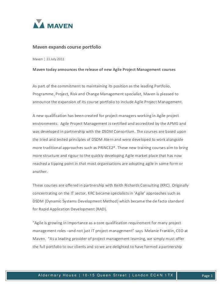 Maven expands course portfolioMaven ¦ 11 July 2011Maven today announces the release of new Agile Project Management course...
