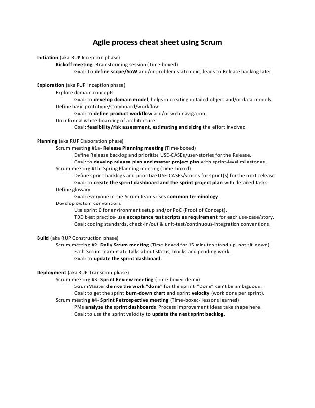 Agile process cheat sheet using ScrumInitiation (aka RUP Inception phase)         Kickoff meeting- Brainstorming session (...
