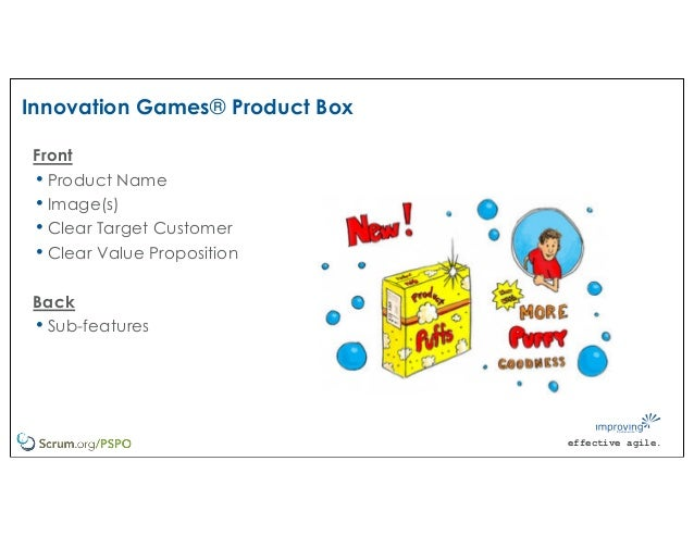 effective agile. Innovation Games® Product Box Front • Product Name • Image(s) • Clear Target Customer • Clear Value Propo...