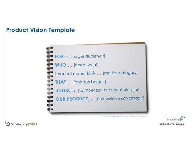 effective agile. Product Vision Template FOR … [target audience] WHO … [need, want] [product name] IS A … [market category...