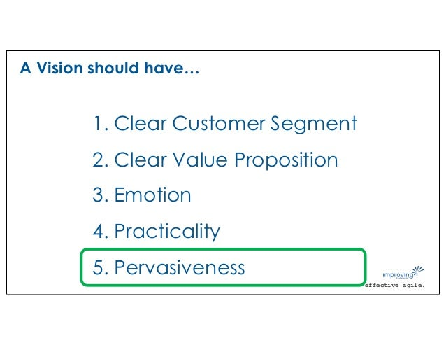 effective agile. A Vision should have… 1. Clear Customer Segment 2. Clear Value Proposition 3. Emotion 4. Practicality 5. ...