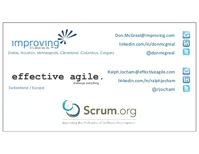 Dallas, Houston, Minneapolis, Cleveland, Columbus, Calgary linkedin.com/in/donmcgreal @donmcgreal Don.McGreal@improving.co...