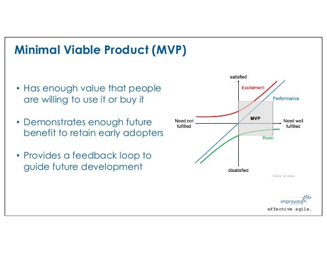 effective agile. Minimal Viable Product (MVP) • Has enough value that people are willing to use it or buy it • Demonstrate...