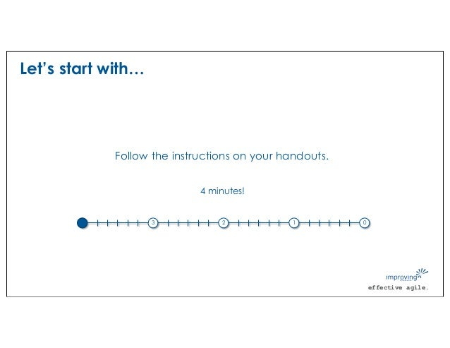 effective agile. Let's start with… Follow the instructions on your handouts. 4 3 2 1 0 4 minutes!