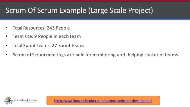 http://www.ifourtechnolab.com Scrum Of Scrum Example (Large Scale Project) • Total Resources: 243 People • Team size: 9 Pe...