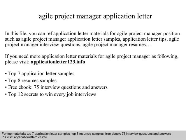 Agile Project Manager Application Letter In This File, You Can Ref  Application Letter Materials For Application Letter Sample ...