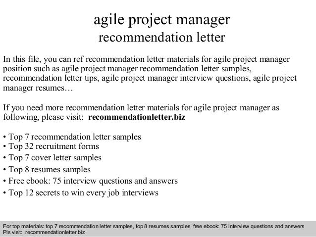Agile project manager recommendation letter