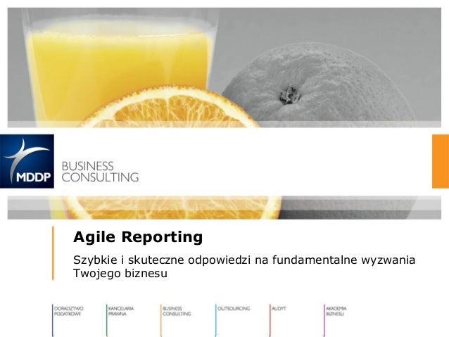 Agile Reporting Szybkie i skuteczne odpowiedzi na fundamentalne wyzwania Twojego biznesu