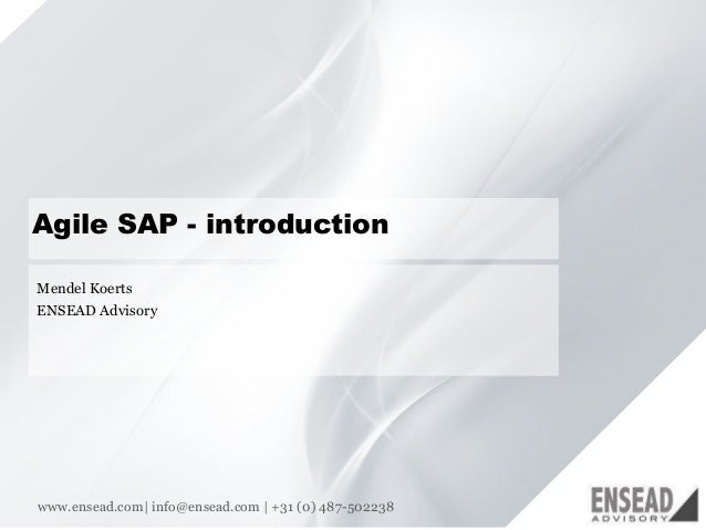 11 Agile SAP - introduction Mendel Koerts ENSEAD Advisory www.ensead.com| info@ensead.com | +31 (0) 487-502238
