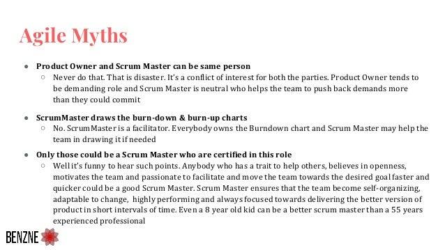 ● ScrumMaster draws the burn-down & burn-up charts ○ No. ScrumMaster is a facilitator. Everybody owns the Burndown chart a...