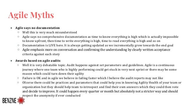 ● Agile says no documentation ○ Well this is very much misunderstood ○ Agile says no comprehensive documentation as time t...