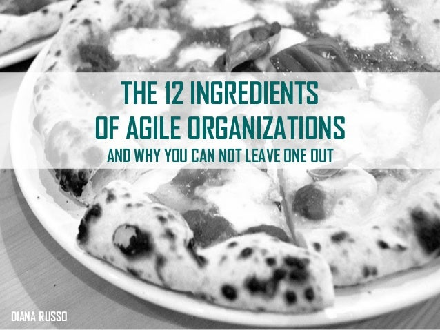 THE 12 INGREDIENTS OF AGILE ORGANIZATIONS AND WHY YOU CAN NOT LEAVE ONE OUT DIANA RUSSO