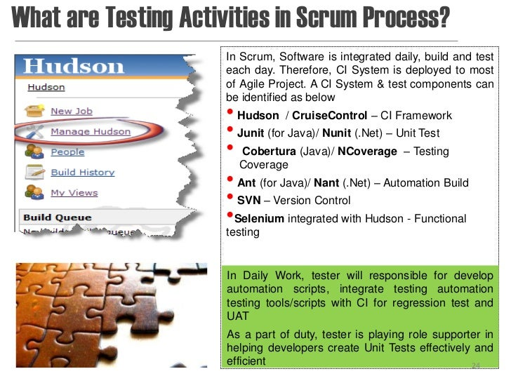 What are Testing Activities in Scrum Process?                      In Scrum, Software is integrated daily, build and test ...