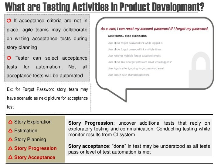 What are Testing Activities in Product Development? If acceptance criteria are not inplace, agile teams may collaborateon...
