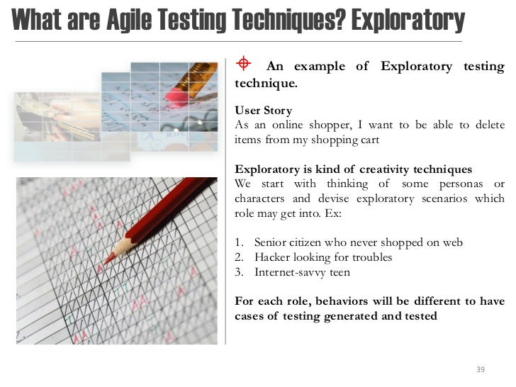 What are Agile Testing Techniques? Exploratory                          An example of Exploratory testing                ...