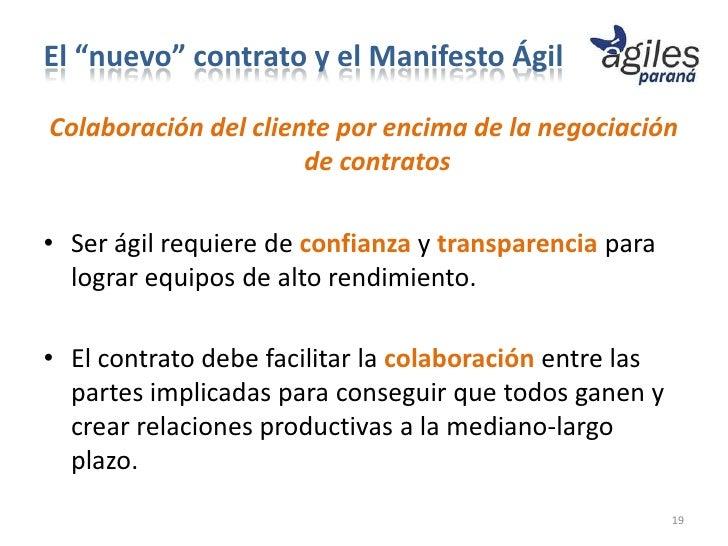 """El """"nuevo"""" contrato y el Manifesto ÁgilColaboración del cliente por encima de la negociación                      de contr..."""