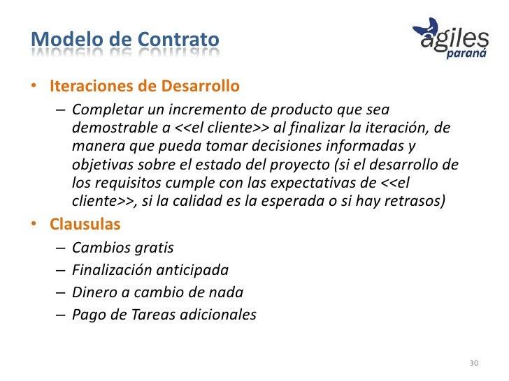 Modelo de Contrato• Iteraciones de Desarrollo   – Completar un incremento de producto que sea     demostrable a <<el clien...