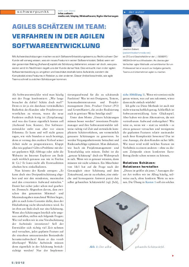 schwerpunkt  mehr zum thema: infos.seibertmedia.net/display/Websoftware/Agile+Vorhersagen  AGILES SCHÄTZEN IM TEAM: VERFAH...