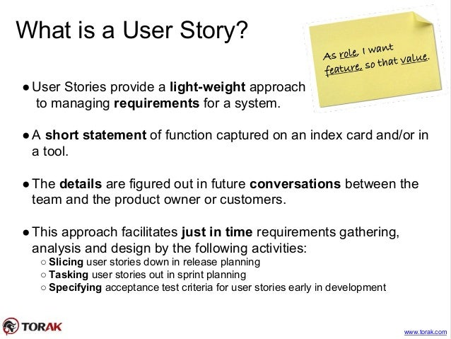 Agile stories estimating and planning – User Story Template
