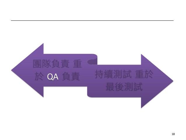 整體原則 團隊負責 重 於 QA 負責 持續測試 重於 最後測試 18