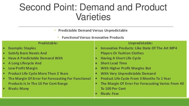 Second Point: Demand and Product Varieties • Predictable Demand Versus Unpredictable • Functional Versus Innovative Produc...