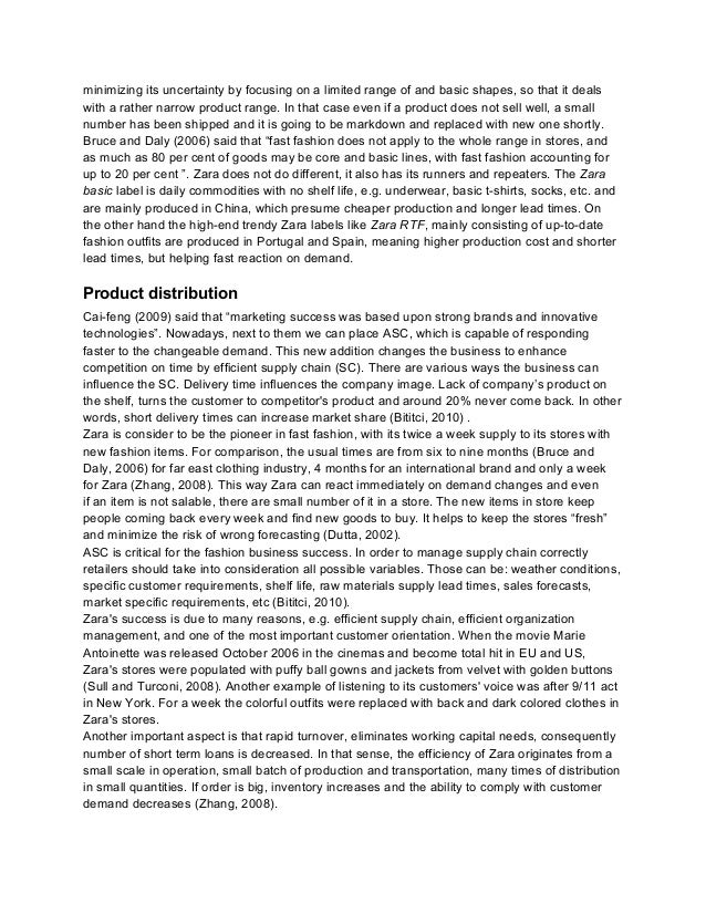 Case study zara fashion supply chain model