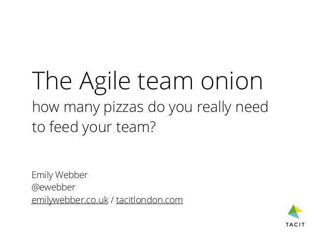 The Agile team onion how many pizzas do you really need to feed your team? Emily Webber @ewebber emilywebber.co.uk / tacit...
