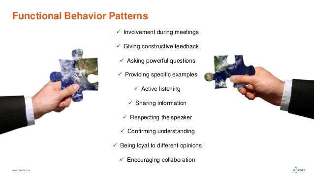 www.luxoft.com Functional Behavior Patterns  Involvement during meetings  Giving constructive feedback  Asking powerful...