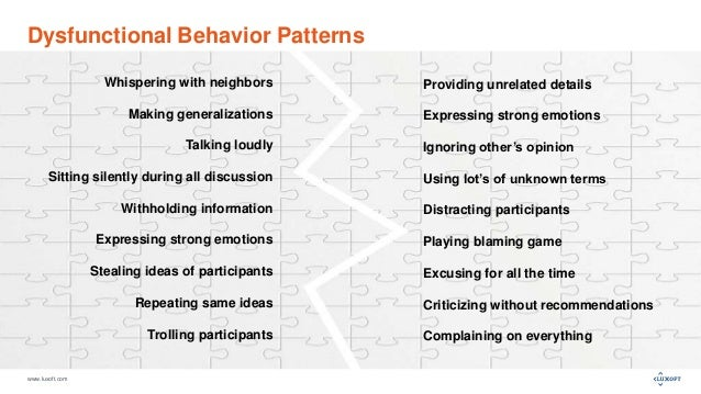www.luxoft.com Dysfunctional Behavior Patterns Providing unrelated details Expressing strong emotions Ignoring other's opi...