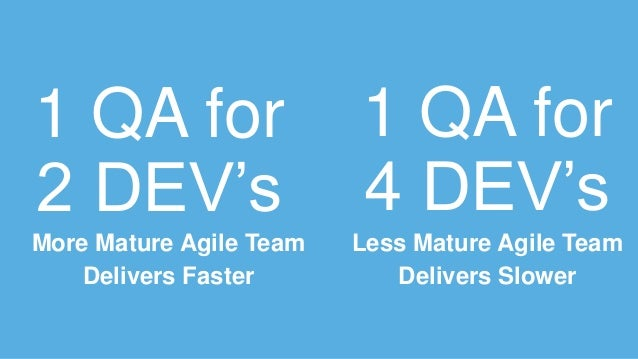1 QA for 2 DEV's More Mature Agile Team Delivers Faster 1 QA for 4 DEV's Less Mature Agile Team Delivers Slower