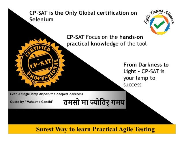 CP-SAT is the Only Global certification on Selenium CP-SAT Focus on the hands-on practical knowledge of the tool From Dark...