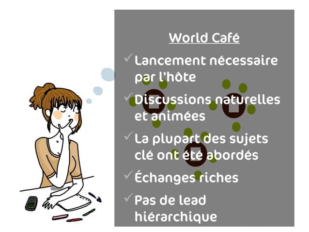 World CaféLancement nécessaire par lhô teDiscussions naturelles et animéesLa plupart des sujets clé ont été abordésÉch...