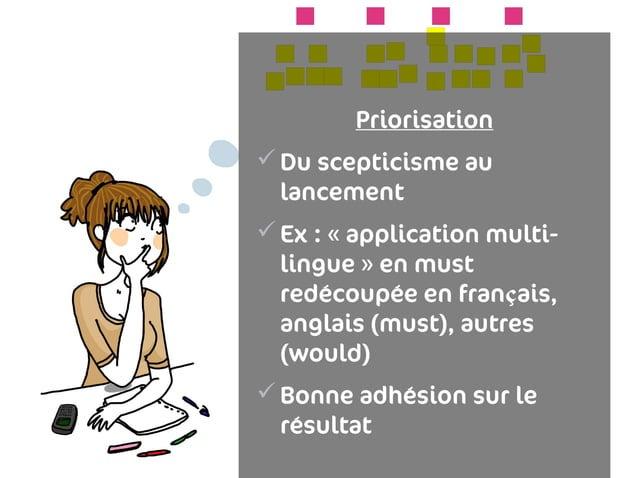 Priorisation Du scepticisme au  lancement Ex : «application multi-  lingue» en must  redécoupée en français,  anglais ...