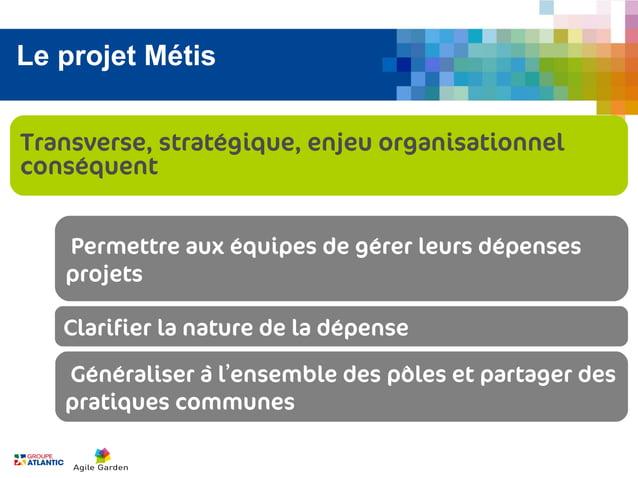 Le projet MétisTransverse, stratégique, enjeu organisationnelconséquent   Permettre aux équipes de gérer leurs dépenses   ...