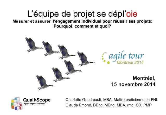 C.Emond et C. Goudreault Quali•Scope 2014 L'équipe de projet se dépl'oie Mesurer et assurer l'engagement individuel pour r...