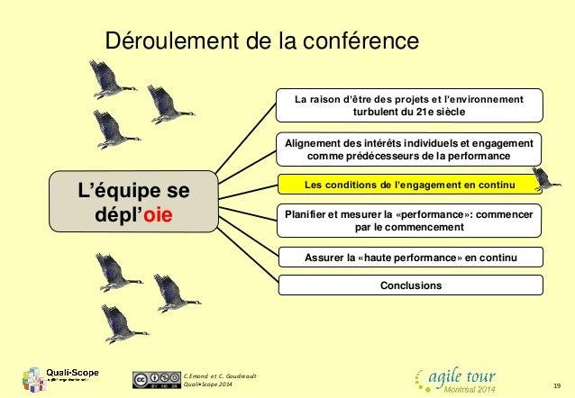C.Emond et C. Goudreault Quali•Scope 2014 19 Déroulement de la conférence Les conditions de l'engagement en continu Aligne...