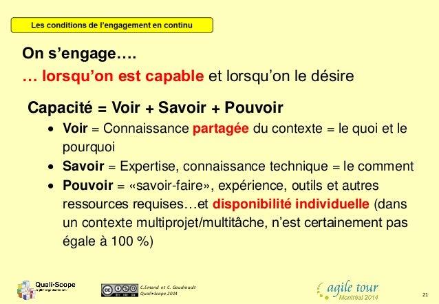 C.Emond et C. Goudreault Quali•Scope 2014 21 Capacité = Voir + Savoir + Pouvoir  Voir = Connaissance partagée du contexte...