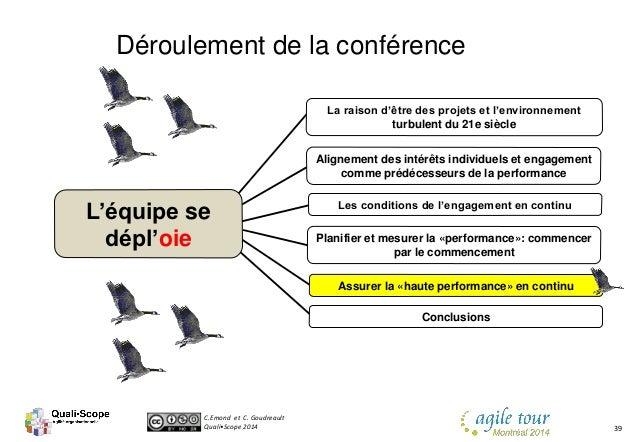 C.Emond et C. Goudreault Quali•Scope 2014 39 Déroulement de la conférence Les conditions de l'engagement en continu Aligne...