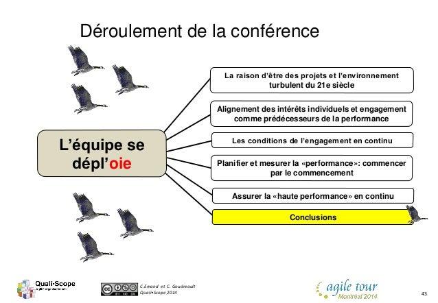 C.Emond et C. Goudreault Quali•Scope 2014 43 Déroulement de la conférence Les conditions de l'engagement en continu Aligne...