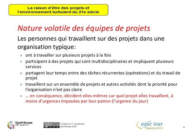 C.Emond et C. Goudreault Quali•Scope 2014 6 Nature volatile des équipes de projets Les personnes qui travaillent sur des p...