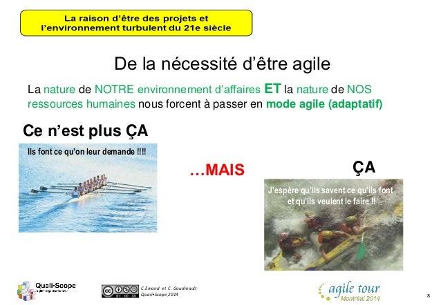 C.Emond et C. Goudreault Quali•Scope 2014 8 De la nécessité d'être agile Ce n'est plus ÇA …MAIS ÇA La nature de NOTRE envi...
