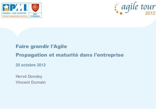Faire grandir lAgilePropagation et maturité dans lentreprise25 octobre 2012Hervé DondeyVincent Dumain